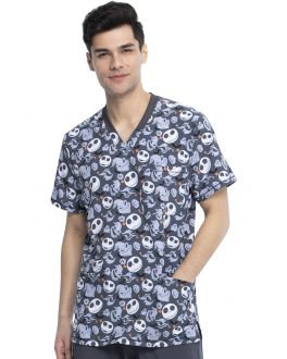 Tooniforms Boogie With Jack Men's V-Neck Print Scrub Top