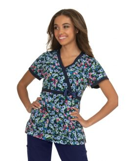 Betsey Johnson Pop Art Peony Print Scrub Top